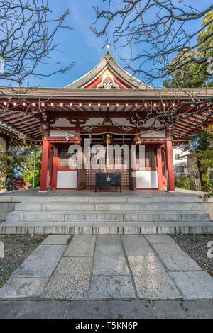 Tokyo, Japan - March 18, 2019 : Mitake Jinja built in 1669 in the precincts of   Kameido Tenjin Shinto Shrine. Devoted to U-no-Kami or Unokami Deity - Stock Photo