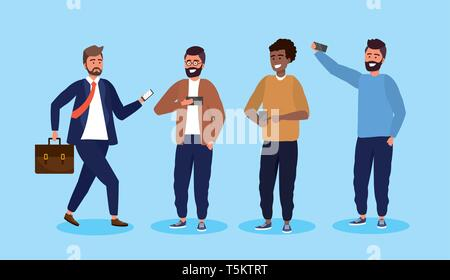 set men with smartphone technology and hairstyle vector illustration - Stock Photo