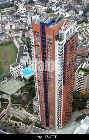 Aerial  view of an apartment block and surroundings, photographed from Tokyo City View Observation Deck, Mori Tower, Tokyo, Japan - Stock Photo