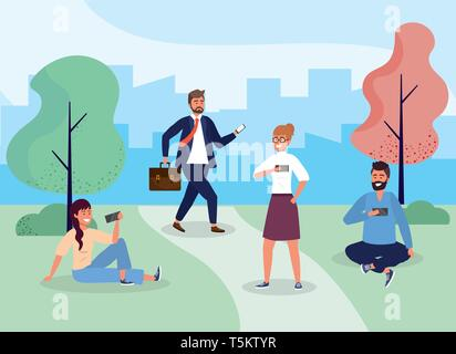 women and men with hairstyle in the park with smartphone vector illustration - Stock Photo