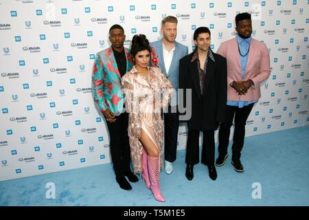 """Los Angeles, USA. 25th Apr, 2019. LOS ANGELES, CA - APRIL 25: Pentatonix attends the WE Day California event at the """"Fabulous"""" Forum on April 25, 2019 in Los Angeles, California. Credit: Imagespace/Alamy Live News - Stock Photo"""