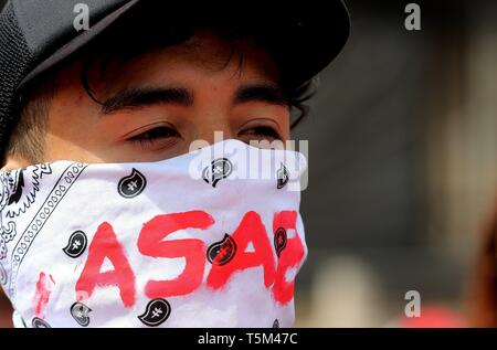 Bogota, Colombia. 25th Apr, 2019. Protesters participate in a national strike, in Bogota, Colombia, 25 April 2019, against the economic and social policies of President Ivan Duque. Credit: Leonardo Munoz/EFE/Alamy Live News - Stock Photo