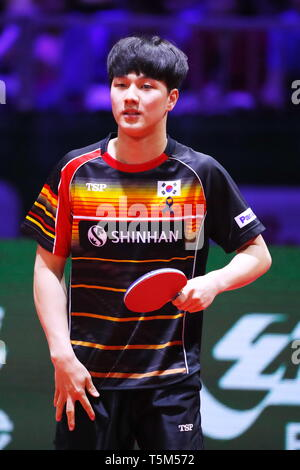 An Jaehyun (KOR),  APRIL 25, 2019 - Table Tennis : 2019 World Table Tennis Championships  Men's singles 16 Round match  at HUNGEXPO Budapest Fair Center, Budapest, Hungary. (Photo by Sho Tamura/AFLO SPORT) - Stock Photo