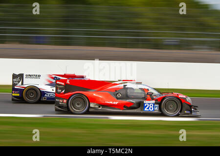 IDEC Sport LMP2 car passes a United Autosports LMP2 during the ELMS 4 Hours of Silverstone, 2018 - Stock Photo