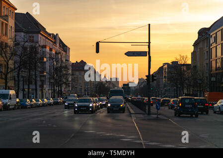 Berlin, Germany. February 19, 2019. Morning in Berlin. City view of the road with cars. Road sign to Tegel airport. - Stock Photo