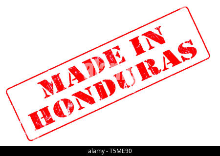 Rubber stamp with red ink on white background concept reading Made In Honduras - Stock Photo
