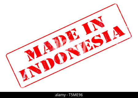 Rubber stamp with red ink on white background concept reading Made In Indonesia - Stock Photo