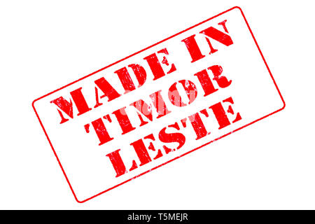 Rubber stamp with red ink on white background concept reading Made In Timor-Leste - Stock Photo