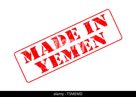 Rubber stamp with red ink on white background concept reading Made In Yemen - Stock Photo