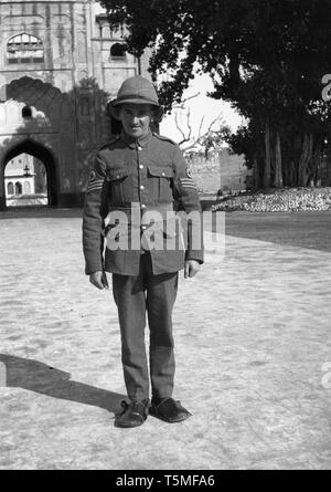 British medical corps soldier wearing pith helmet or Bombay Bowler in British India in Colonial days - Stock Photo