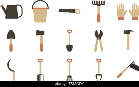 Agricultural tool, hoe, shovel, pitchfork, rake set of icons in flat style, tools for the garden vector illustration - Stock Photo