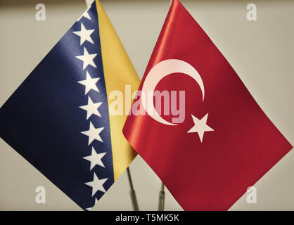 Turkey and Bosnia and Herzegovina flags. - Stock Photo