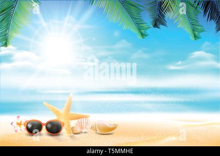 Sunglass star fish and flower in the Sand beach over blur sea and sky with sun light flare and copyspace abstract background vector illustration - Stock Photo