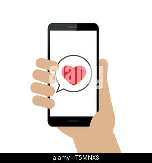 hand holds smartphone with love message on display isolated on white background vector illustration EPS10 - Stock Photo