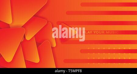 orange music abstract play button background design template vector - Stock Photo