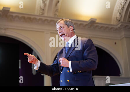 Nigel Farage speaking at the Brexit Party Rally held at Albert Hall Conference Centre, Nottingham. - Stock Photo
