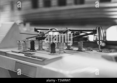 a toy model of a modern electric train - Stock Photo