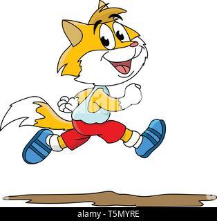 Cute cartoon cat running outside vector illustration - Stock Photo