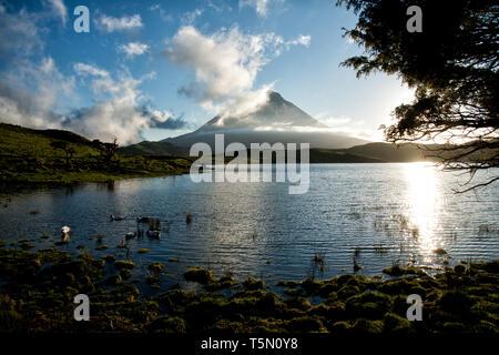 Lagoa do Capitão, Captain's Lagoon, in Pico Island, Azores - Stock Photo