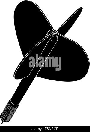 Darts. Black icon - Stock Photo