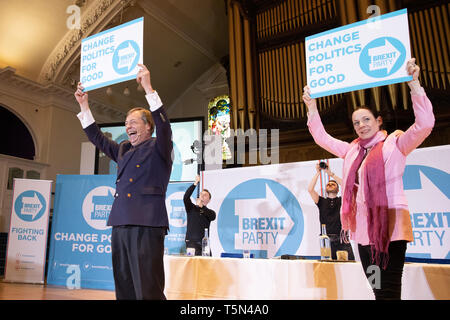 Brexit Party Rally held at Albert Hall Conference Centre, Nottingham. Nigel Farage joined by Annunziata Rees-Mogg, Richard Tice. - Stock Photo