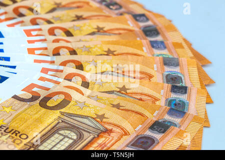 five hundred euro bank notes isolated on white - Stock Photo