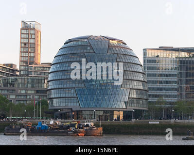 London,UK - 21 APR 2019: City Hall, the headquarters of the Greater London Authority, which comprises the Mayor of London and the London Assembly. - Stock Photo