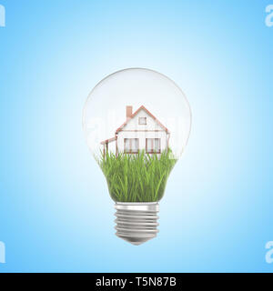 3d rendering of white house on green grass inside a light bulb on blue background - Stock Photo