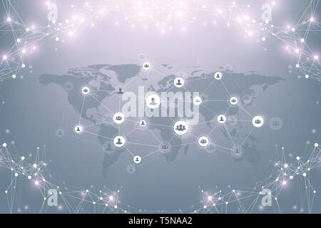 Social media network and marketing concept background. Global business concept and internet technology, Analytical networks. Vector illustration - Stock Photo
