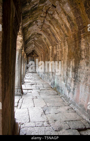 Passageway in Bayon Temple, Angkor Thom, Cambodia. - Stock Photo