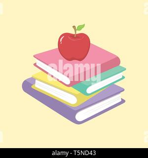 Vector illustration of Stack of Books and Apple School Supplies isolated on cream background. - Stock Photo