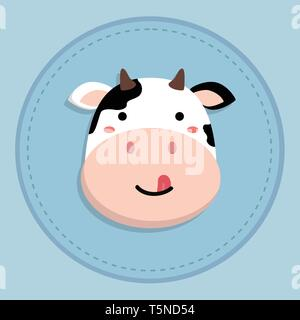 Vector illustration of a cute cow cartoon sticking tongue out on blue circle background. - Stock Photo