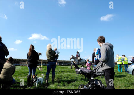 The Isle of Wight Grand National and Ashey Scurry 2019, West Ashey Farm, Ryde, Isle of Wight. Horse racing and spectators around the rural course. - Stock Photo