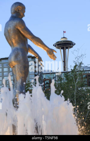 Overlooking Space needle from the site of 'Father and Son' created by Louise Bourgeois at Olympic sculpture park. Seattle. USA. - Stock Photo