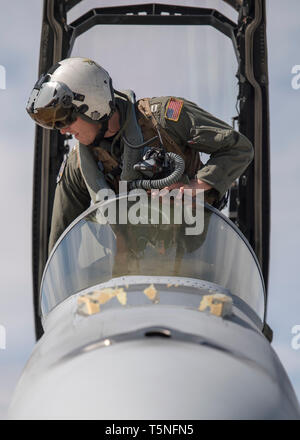 A U.S. Navy pilot from Strike Fighter Squadron 32 based ashore at Naval Air Station Oceana, Virginia Beach, Virginia prepares to fly an F/A-18F Super Hornet at Gowen Field, Boise, Idaho April 23, 2019. The pilots are training with A-10 Thunderbolt IIs assigned to the 190th Fighter Squadron. (U.S. Air National Guard photo by Master Sgt. Joshua C. Allmaras) - Stock Photo