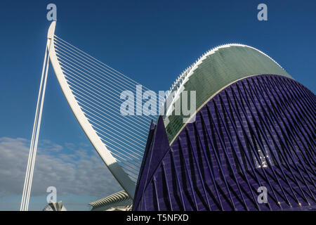 Valencia Spain Europe, Modern architecture by Calatrava, futuristic structure building in the contemporary city, Agora and Puente de l'Assut de l'Or - Stock Photo