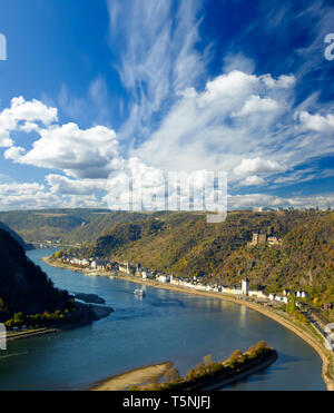 The Lorelei (Loreley German) steep slate rock on the right bank of the River Rhine in the Rhine Gorge (or Middle Rhine) at Sankt Goarshausen in German - Stock Photo