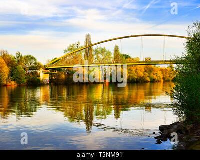 a Footbridge in frankfurt fechenheim over the river main called arthur von weinberg steg - Stock Photo