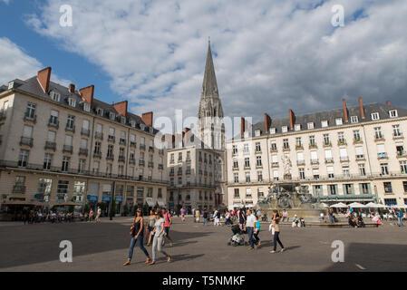 St Nicolas church, Place Royale, Nantes, Loire-Atlantique, France. - Stock Photo