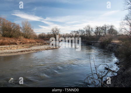 Odra river meander near Bohumin and Chalupki on czech-polish borders druring beautiful day with blue sky - Stock Photo