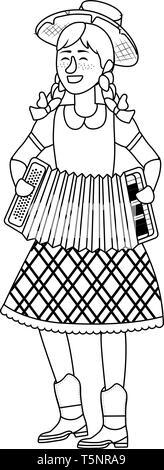 festa junina brazil party woman wearing traditional clothes cartoon vector illustration graphic design - Stock Photo