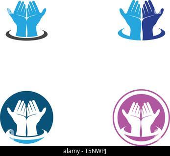 Hand Care Logo Template vector icon Business - Vector - Stock Photo