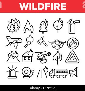 Wildfire, Bushfire Vector Thin Line Icons Set - Stock Photo