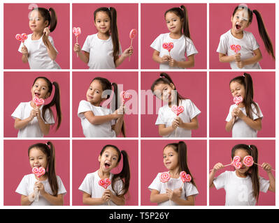 set of cute little child girl with sweet candy lollipop - Stock Photo