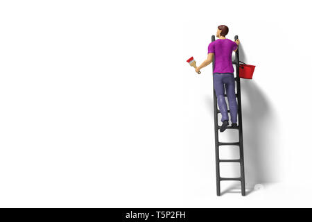 toy miniature figurine character with ladder and red paint in front of a wall - Stock Photo