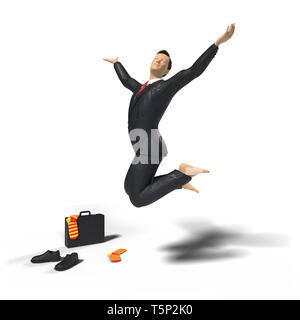 barefoot toy miniature businessman figurine is jumping for joy and happiness, with colourful socks, shoes and briefcase, concept isolated on white bac - Stock Photo