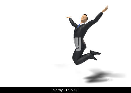 toy miniature businessman with blue tie figurine is jumping for joy and happiness, concept isolated with shadow on white background - Stock Photo
