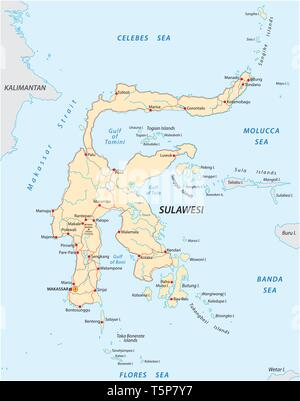 vector roads map of indonesian island sulawesi - Stock Photo