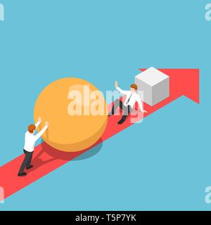 Flat 3d isometric smart businessman with sphere go faster than his rival and be able to eliminate him. Business competition concept. - Stock Photo