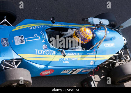 Close-up, aerial view of Kieth White driving his 1977, Ralt RT1 Formula 3 race car at the 2019 Silverstone Classic media day. - Stock Photo